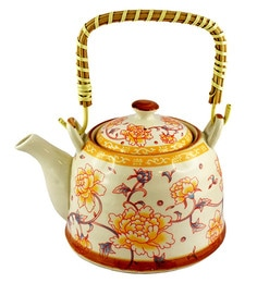 Bar World Multicolour Porcelain 800 ML Teapot With Cane Handle - Set Of 3