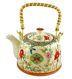 Bar World Multicolour Porcelain 800 ML Teapot With Cane Handle - Set Of 3 - 1601942