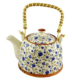 Bar World White & Blue Porcelain 800 ML Teapot With Cane Handle - Set Of 3 - 1601929