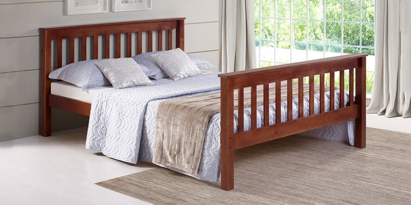 Basilica Solidwood Queen Size Bed in Natural Pinewood Finish by Woodsworth