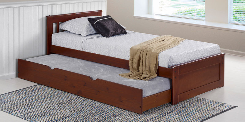 Basilica Solidwood Single Bed with Trundle in Natural Pinewood Finish by Woodsworth