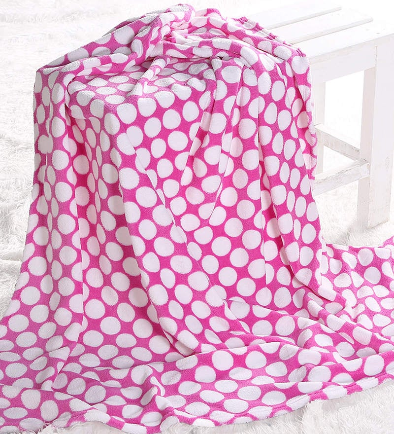 Bacati Bright Pink Dots Baby Throw