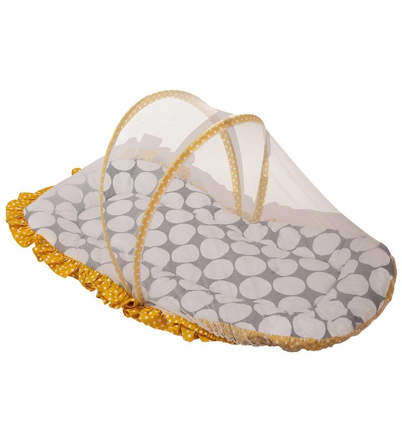 Bacati Dots Yellow & Grey Cotton Small Net with Mattress