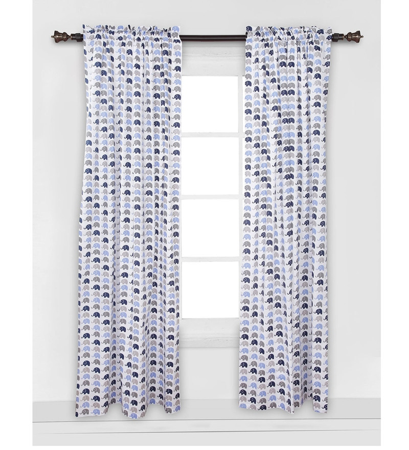 Elephant Blue Grey Curtain Panel Door Set of 2 pcs by Bacati