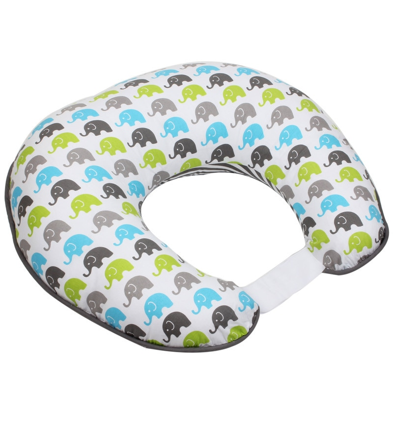 Elephant Nursing Pillow Cover in Aqua Lime & Grey by Bacati
