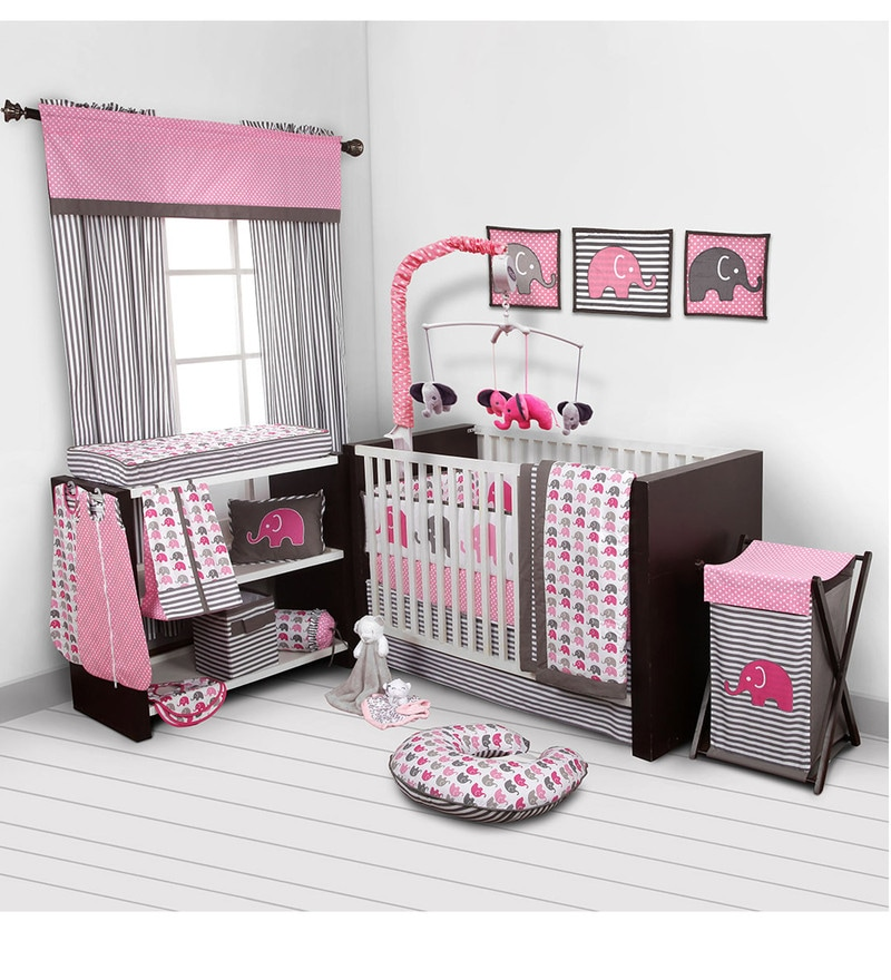 Elephant Pink Grey 10 CS Crib Set by Bacati