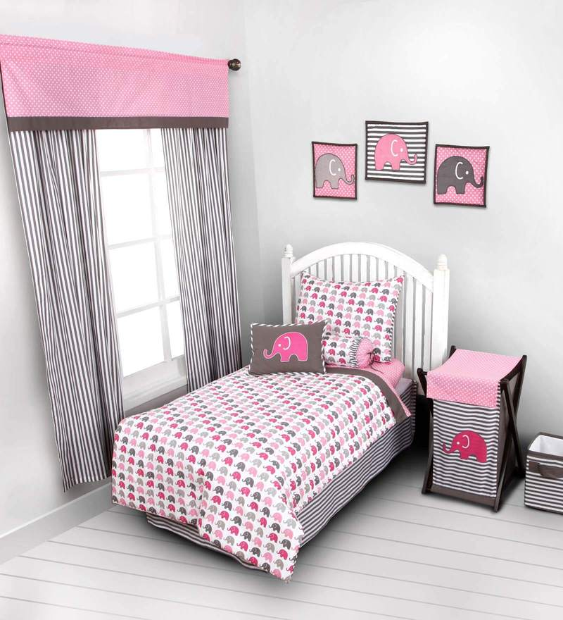 Elephant Pink Grey 4 Piece Toddler Bedding Set by Bacati