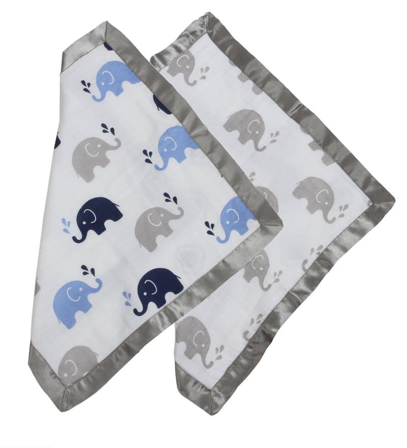 Elephants Muslin Security Blankets in Blue & Grey (Set of 2) by Bacati