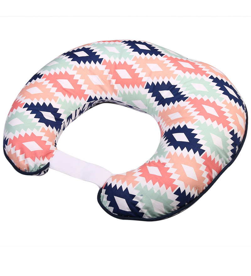 Emma Aztec Nursing Pillow in Coral Mint & Navy by Bacati
