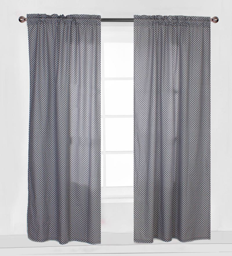 Grey Pin Dots Curtain Panel Door Set of 2 pcs by Bacati