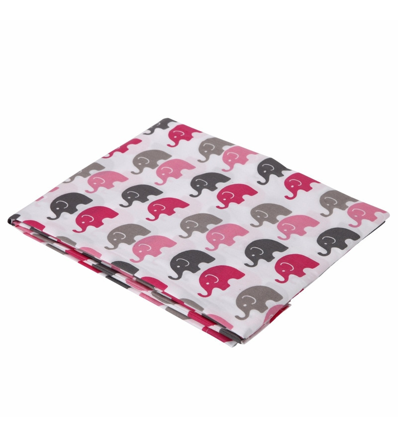 Bacati Multicolour Cotton 52 x 28 Inch Elephants Crib Fitted Baby Bedding Set