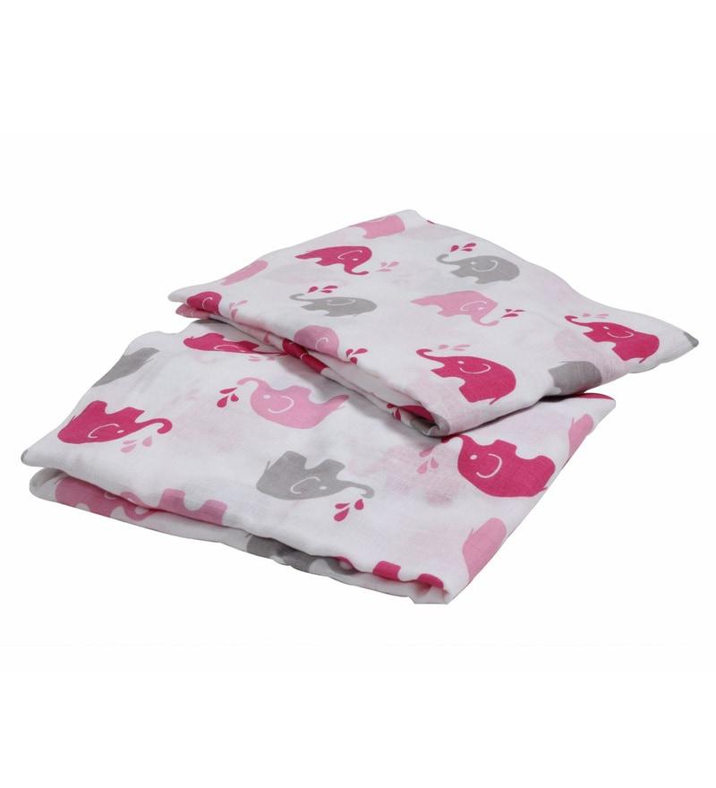 Bacati Multicolour Muslin 52 x 28 Inch Elephants Crib Baby Bedding Set - Set of 2