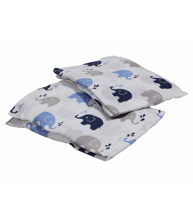 Bacati Multicolour Muslin 52 x 28 Inch Elephants Crib Baby Bedding Set - Set of 2
