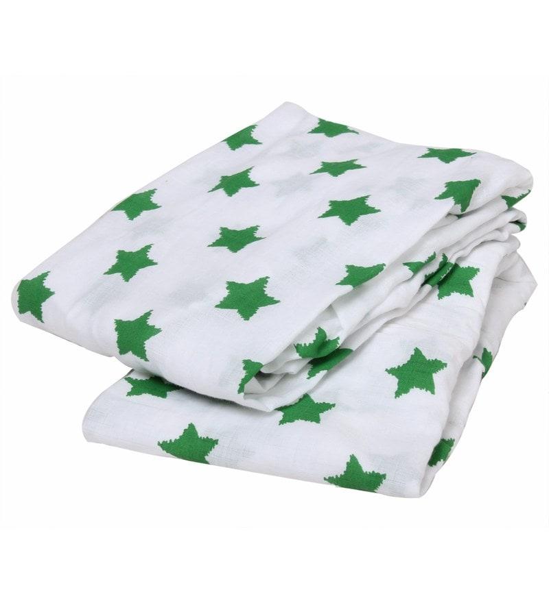 Bacati Multicolour Muslin 52 x 28 Inch Stars Crib Baby Bedding Set - Set of 2