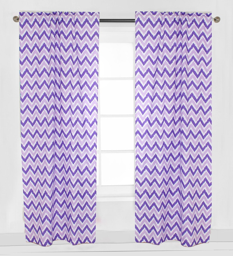 Purple Zigzag Curtain Panel Door Set of 2 pcs by Bacati