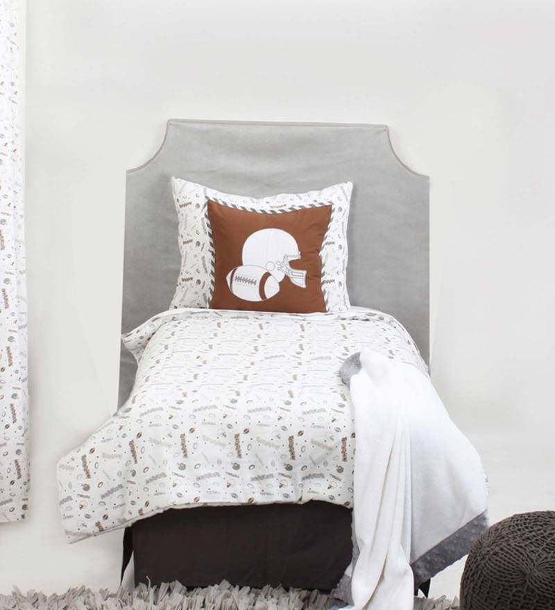 Sports Muslin Brown Grey Football 4 Piece Toddler Bedding Set by Bacati