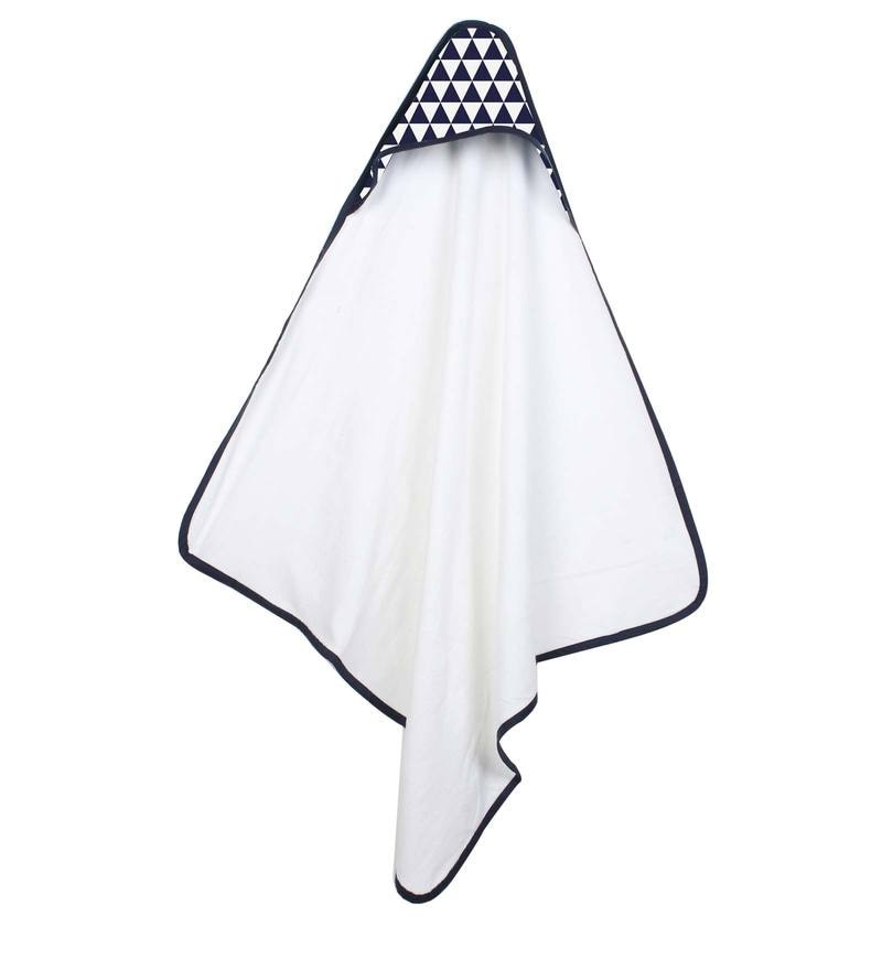 Tribal Navy Navy Triangles Hooded Towel by Bacati