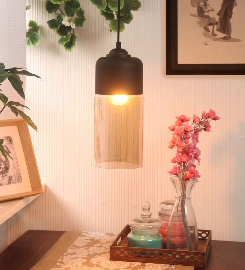 Black & Transparent Metal & Glass Smokey Caf Pendant by Bandra Flea Market