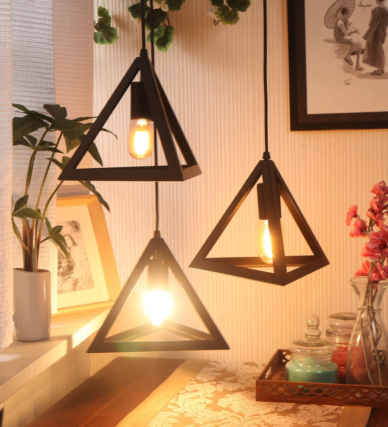 Black Steel Equilateral Industrial Pendant by Bandra Flea Market
