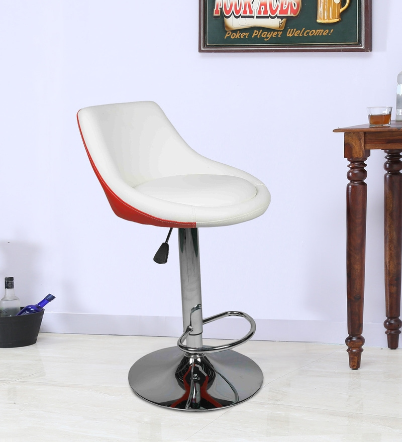 Bar Chair with Chrome Base in White & Red Leatherette by Ventura