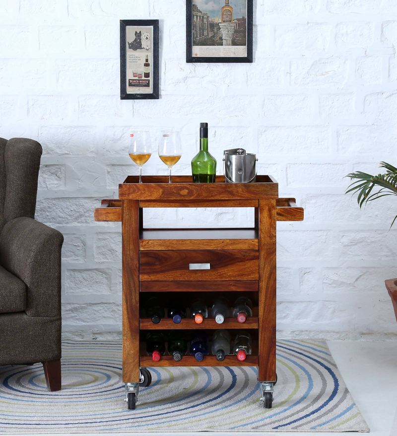 Oriel Bar Trolley in Honey oak Finish by Woodsworth