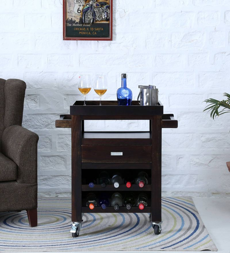 Oriel Bar Trolley in Warm Chestnut Finish by Woodsworth