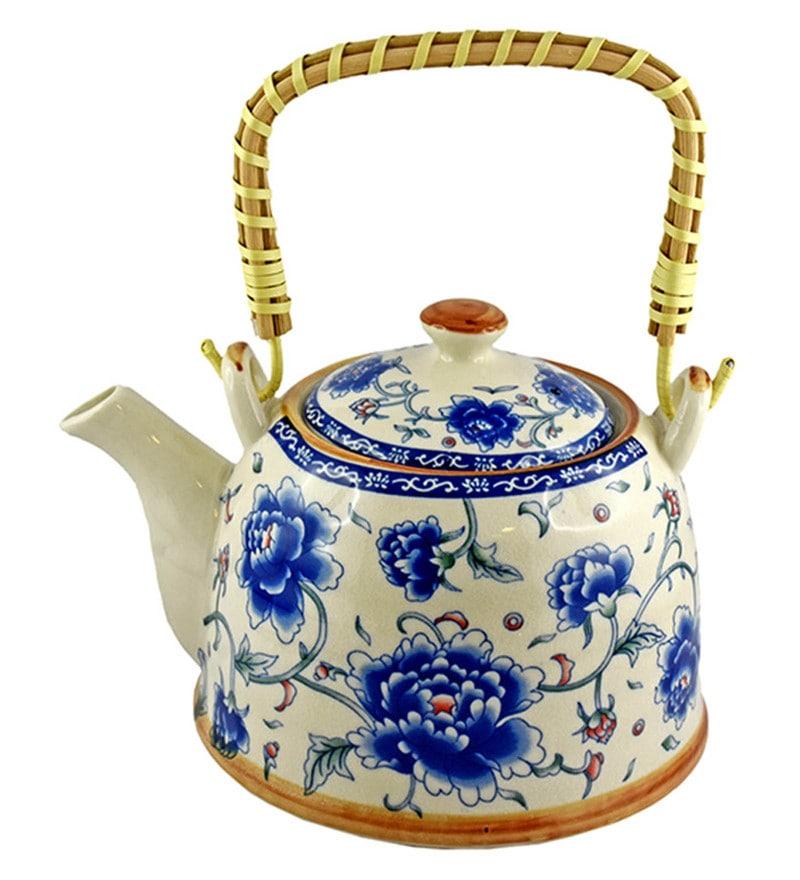Bar World Blue & White Porcelain 800 ML Teapot with Cane Handle - Set of 3