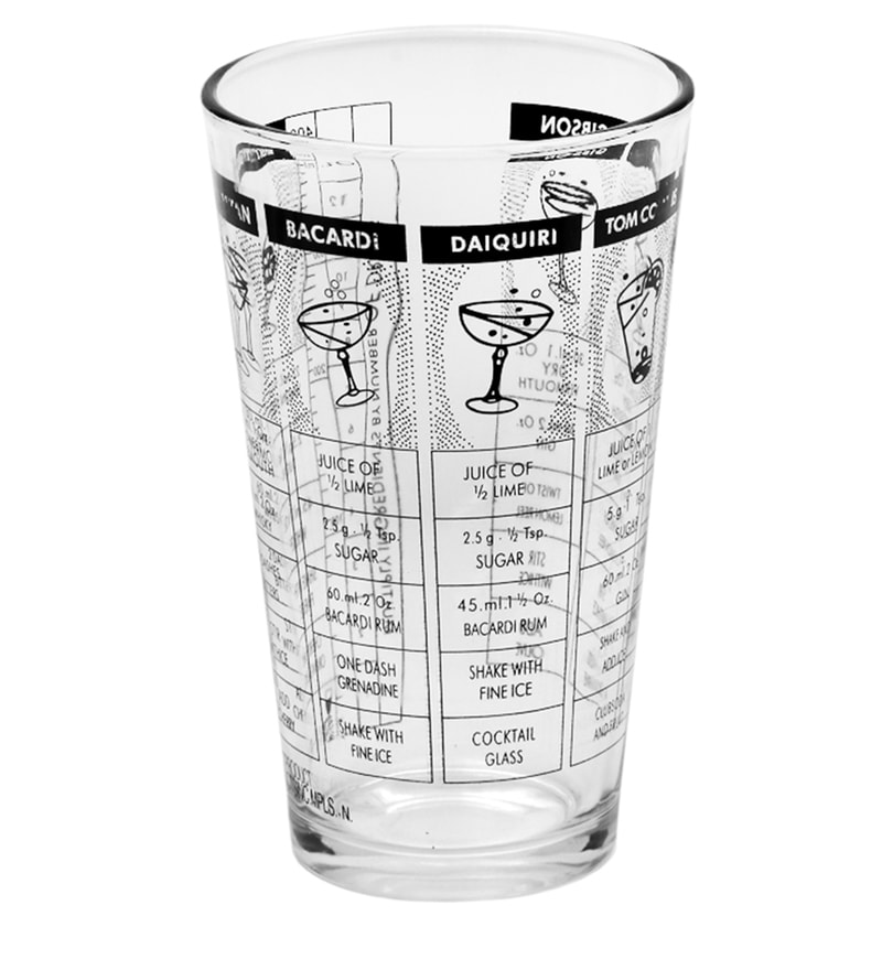 Bar World Cocktail Shaker Glass with Recipes