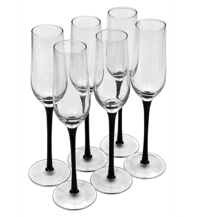 Bar World Fancy Black Glass 190 ML Champagne Glasses - Set of 6