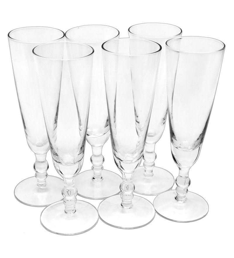 Bar World Fancy Transparent Glass 180 ML Glasses - Set of 6