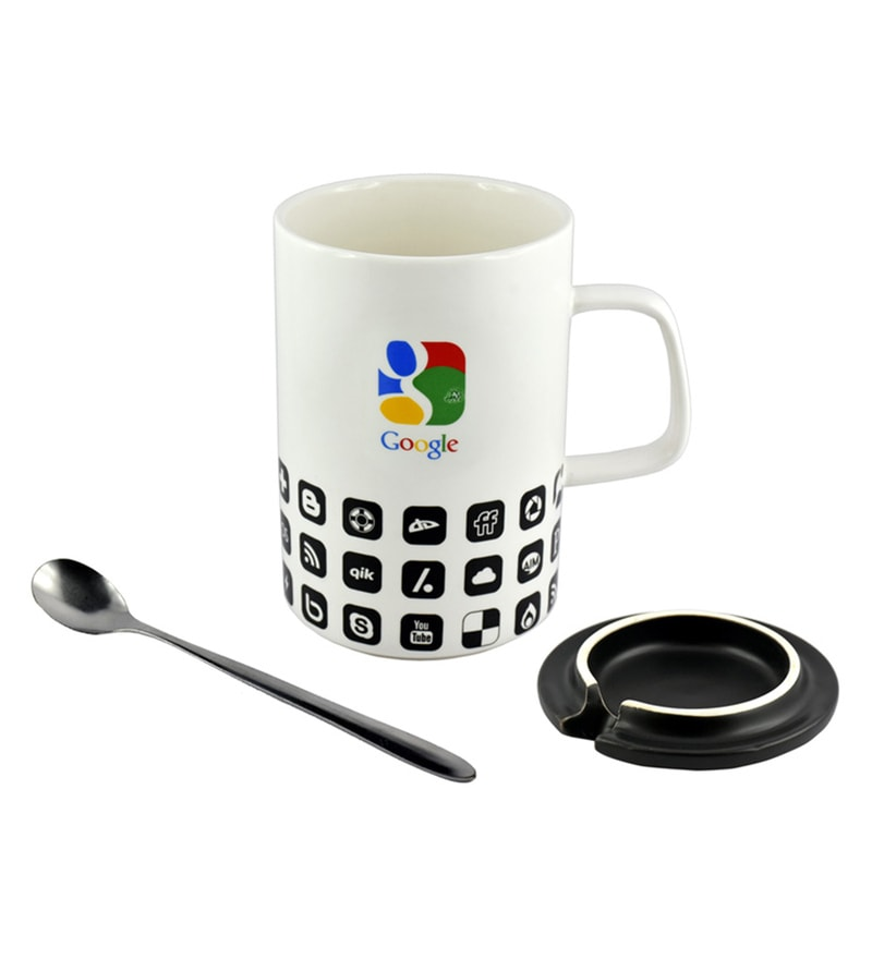 Bar World Google White & Black Ceramic & Stainless Steel 400 ML Mug - Set of 3