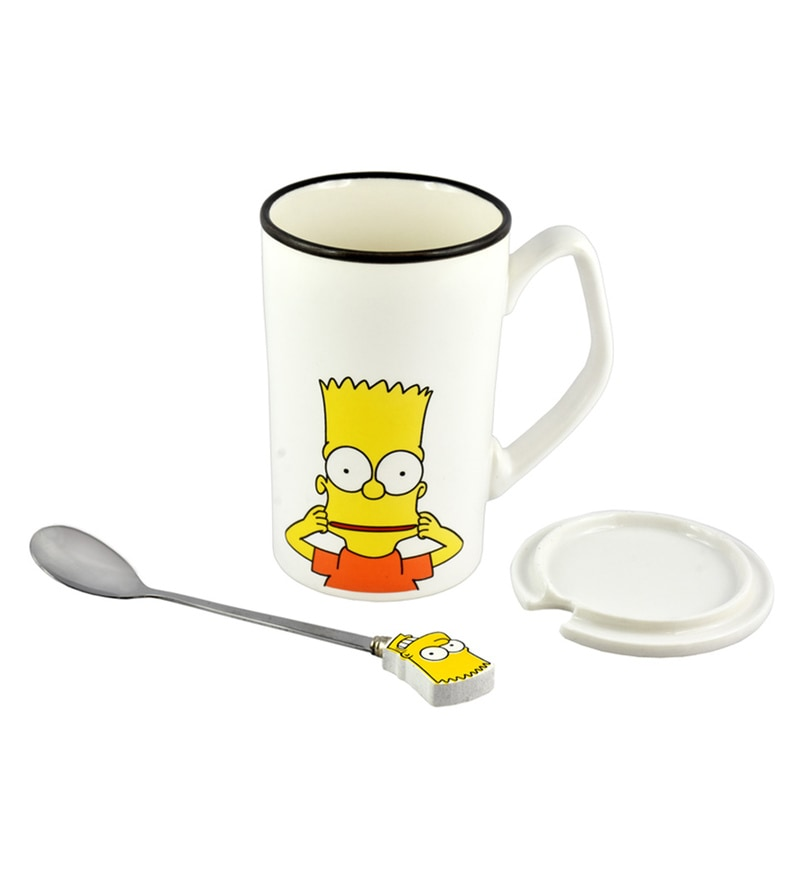 Bar World Simpsons Multicolour Ceramic & Stainless Steel 380 ML Mug - Set of 3