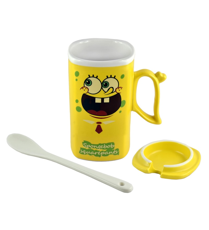 Bar World SpongeBob SquarePants Yellow & White Ceramic 340 ML Mug