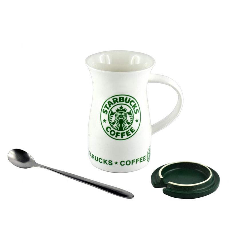 Bar World Starbucks Ceramic & Wood 400 ML Mug - Set of 3