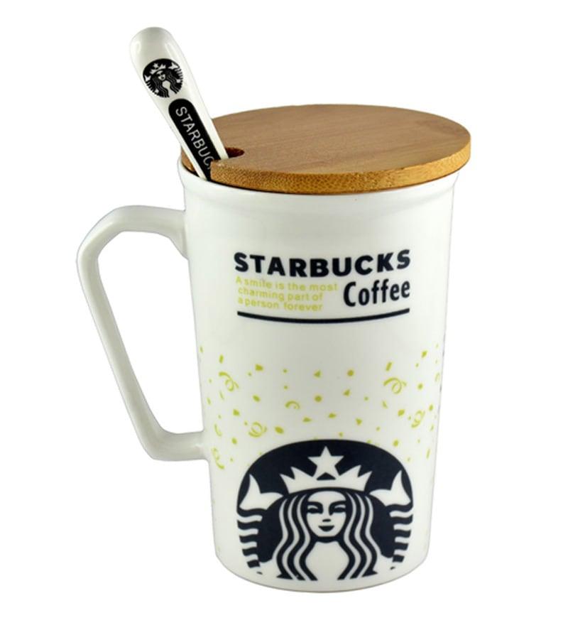 Bar World Starbucks Green & White Ceramic & Stainless Steel 400 ML Mug - Set of 3