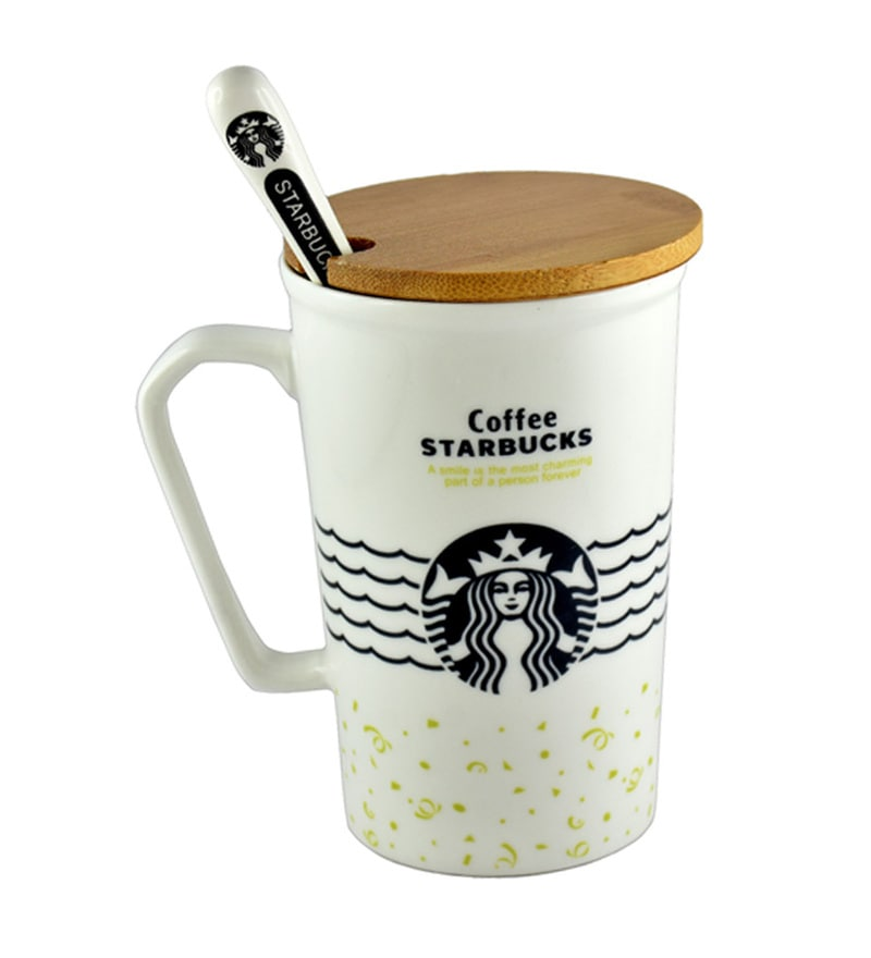 Bar World Starbucks White Ceramic 400 ML Mug - Set of 3