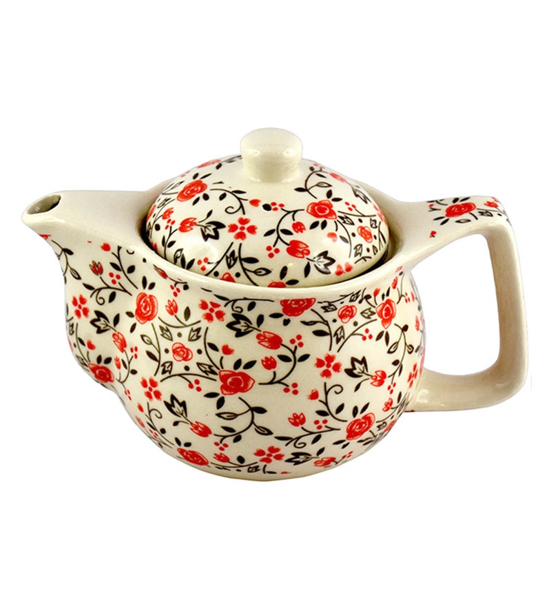 Bar World White & Orange Porcelain 350 ML Teapot - Set of 3
