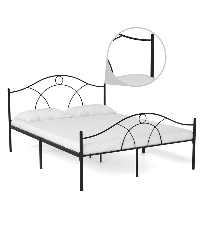Buy Bari Metallic Queen Size Bed in Black Finish by FurnitureKraft ...