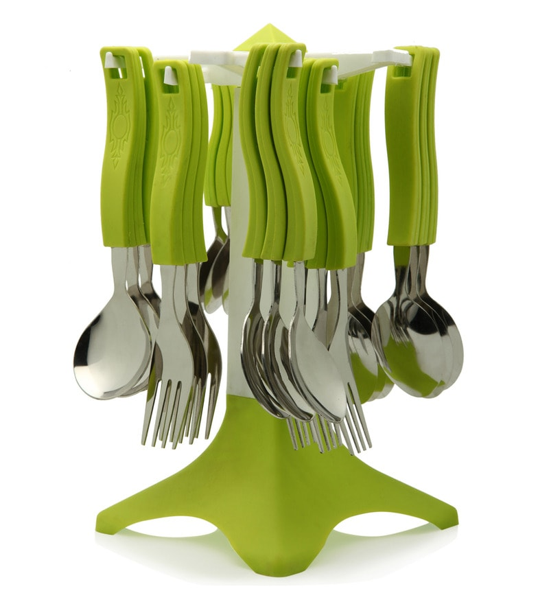 Bartan Shopee Green Stainless Steel Spoons Set - Set of 24