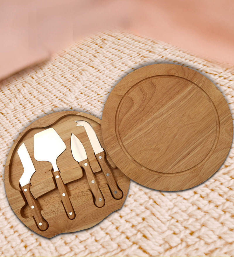 Barworld 5 pieces Cheese Gadgets Set with Wooden Cutting Board