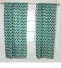 Navy Green Zigzag Curtain Panel Door Set of 2 pcs by Bacati