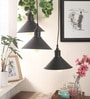 Black Steel Midnight Conical Hanging Light by Bandra Flea Market