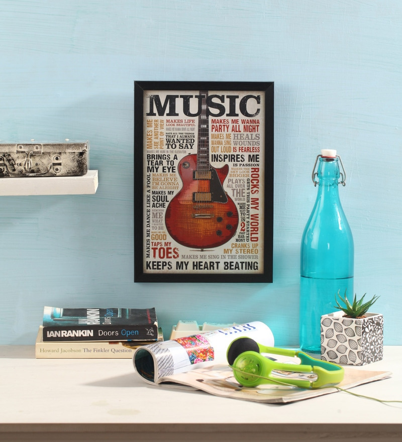 Glass, Fibre & Paper 8 x 1 x 12 Inch Music Inspires Me Officially Licensed Framed Poster by bCreative