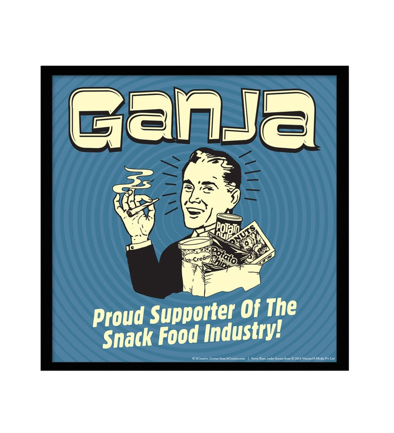 Paper & Fibre 13 x 1 x 13 Inch Ganja Proud Supporter Of The Snack Food Industry Officially Licensed Framed Poster by bCreative