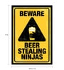 Paper & Fibre 13x1x19 Inch Beware Beer Stealing Ninja's Officially Licensed Framed Poster by bCreative