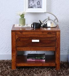 Oriel One Drawer Bed Side Table In Honey Oak Finish