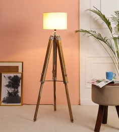 Beige Fabric Floor Tripod Lamp - 1693676