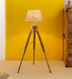 Beige Jute Floor Lamp