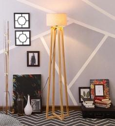 Beige Linen Floor Lamp - 1630946