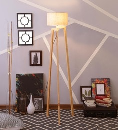 Beige Linen Floor Lamp - 1630926